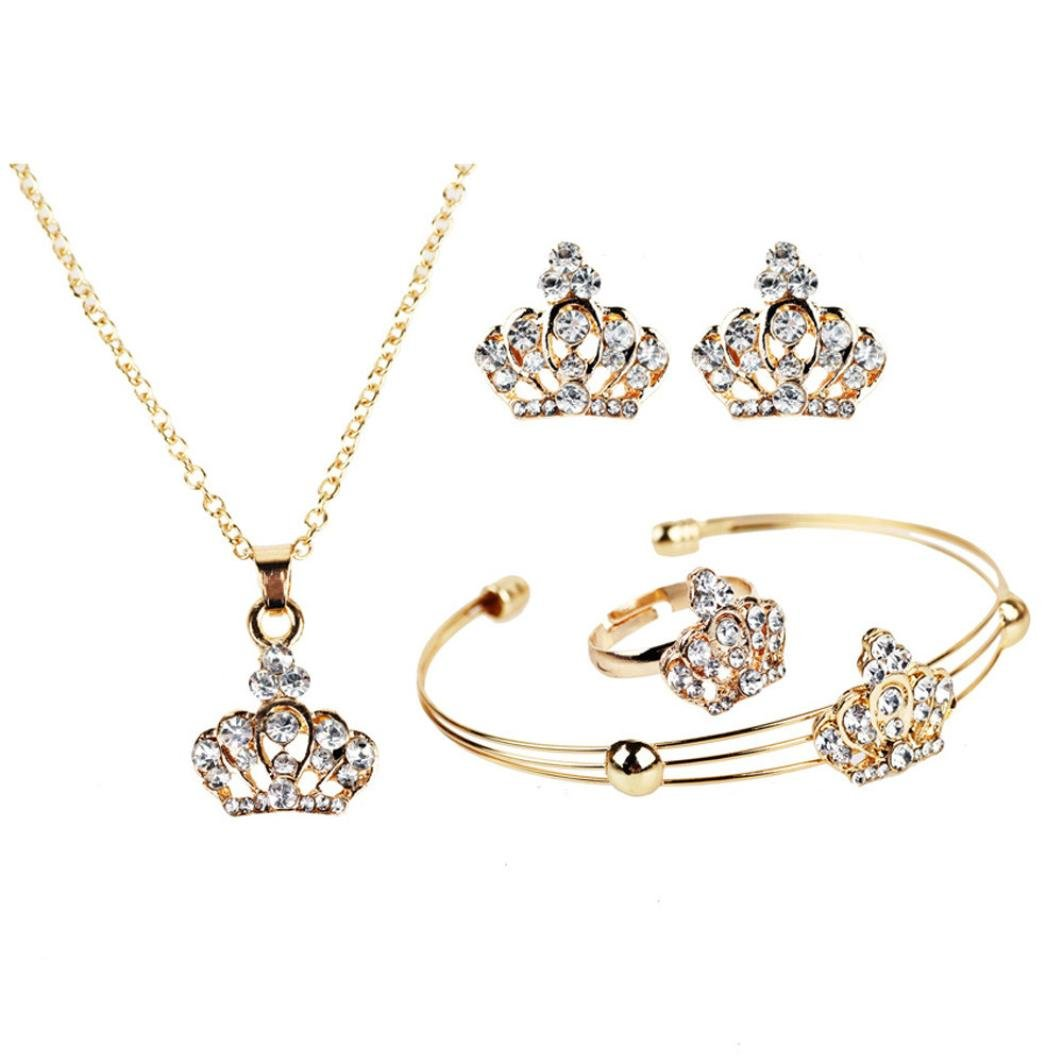 Cuekondy Imperial Crown Chain Pendant Necklace Earrings Rings Bracelet Charm Statement Jewelry Set for Women Girls