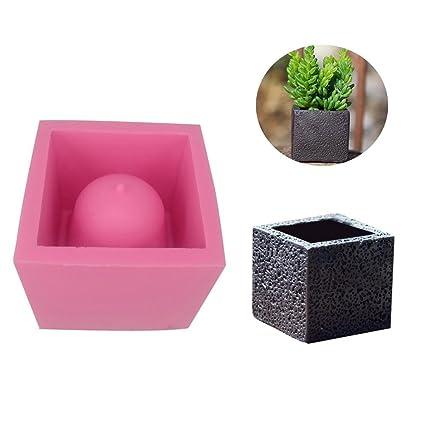 Moldes de silicona para macetas de hormigón, diseño cuadrado de cemento, para manualidades (