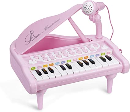 Amy/&Benton Toddler Piano Toy Keyboard for Girls Birthday Gift 1 2 3 4 Years Old Girls 24 Keys Electronic Educational Musical Instrument with Microphone