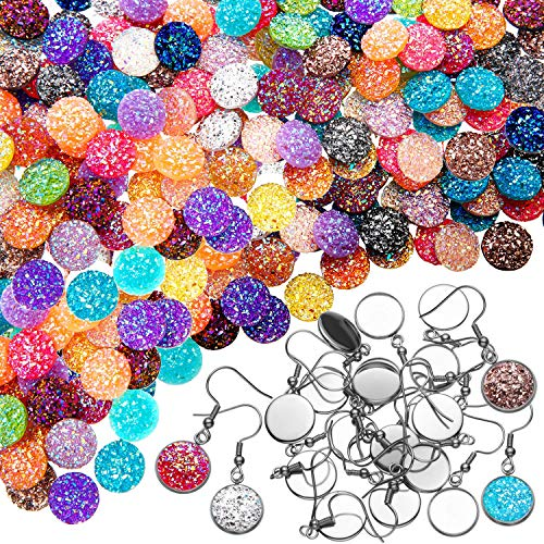 200 Pieces 20 Colors 12 mm Resin Cabochons Faux Druzy Cabochons Flat Back Dome Cabochons and 40 Pieces Stainless Steel Earring Wire Hooks Blanks for Jewelry Making, DIY Craft ()