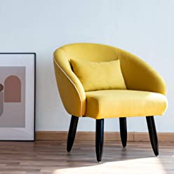 Panama Accent Fabric Chair Single Sofa Comfy Upholstered Arm Chair Living Room Furniture Mustard Yellow (