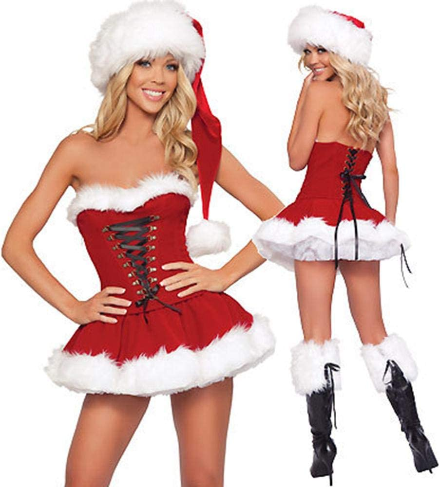 popchilli Christmas Costume Dress and Hat Woman Sexy Christmas Dress Santa  Outfit Cosplay Performance Clothes for Christmas Halloween Party gaudily