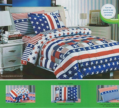 Children's Twin Size Patriotic Flag Print Bedding Comforter Sheets Set, 5 Pieces (Patriotic Set)