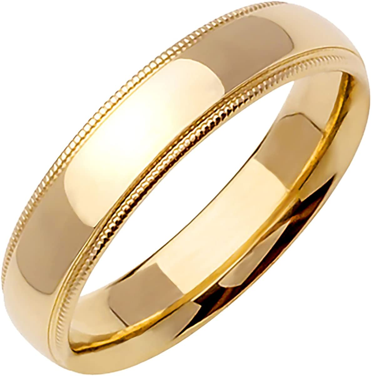 14K Yellow Gold Traditional Milgrain Edge Men's Comfort Fit Wedding Band (5mm)