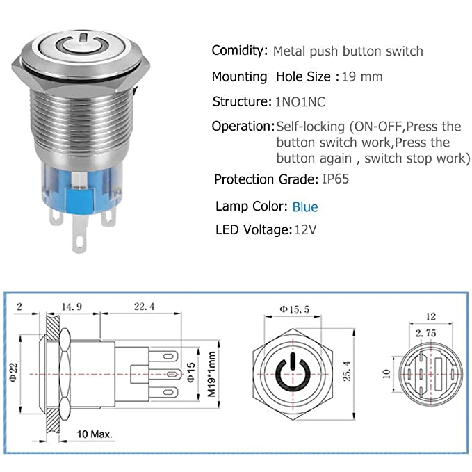 Quentacy 19mm 3//4 Latching Pushbutton Switch LED 12V DC 5A 250V AC Power Symbol ON-OFF Waterproof Toggle Switch Stainless Steel Shell with Wire Connector Plug Red light