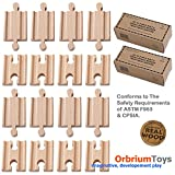 16 Pcs Orbrium Toys Male-male Female-female Wooden Train Track Adapters Fits Thomas Brio Chuggington, 2x Pack of 8