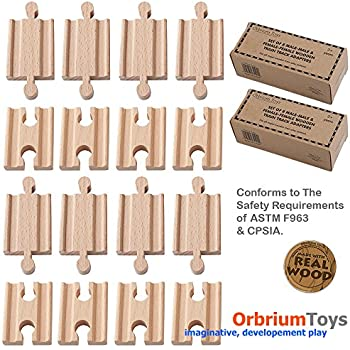 2x Pack of 8, 16 Pcs Orbrium Toys Male-male Female-female Wooden Train Track Adapters Fits Thomas Brio Chuggington