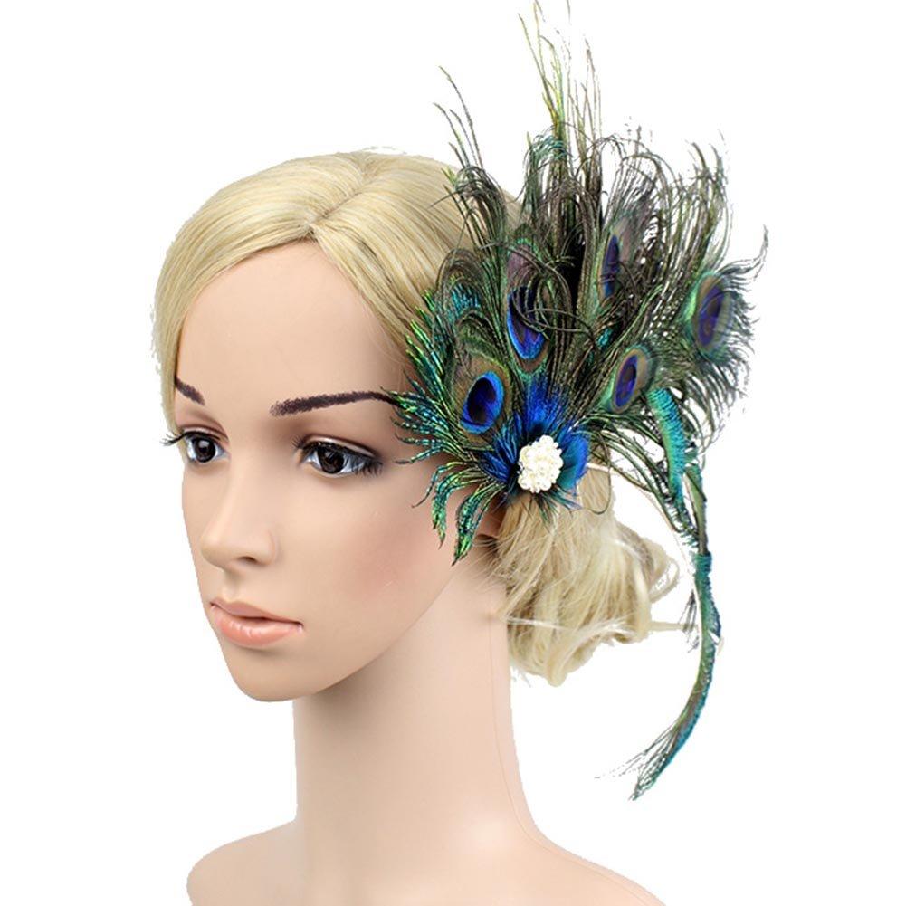ACTLATI Elegant Peacock Feather Hair Clip Fascinator Hairpin Rhinestones Headband Cocktail Party Girls Women, Green, One Size