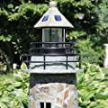 Sunnydaze Solar LED Garden Lighthouse, Outdoor Yard Decoration, 35 Inch Tall, Cobblestone