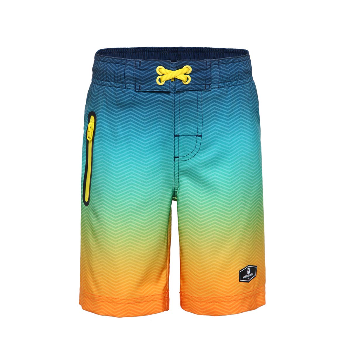Rokka&Rolla Boys' Quick Dry Swim Trunks 4-Way Stretch Performance Beach Surfing Board Shorts with Mesh Lining