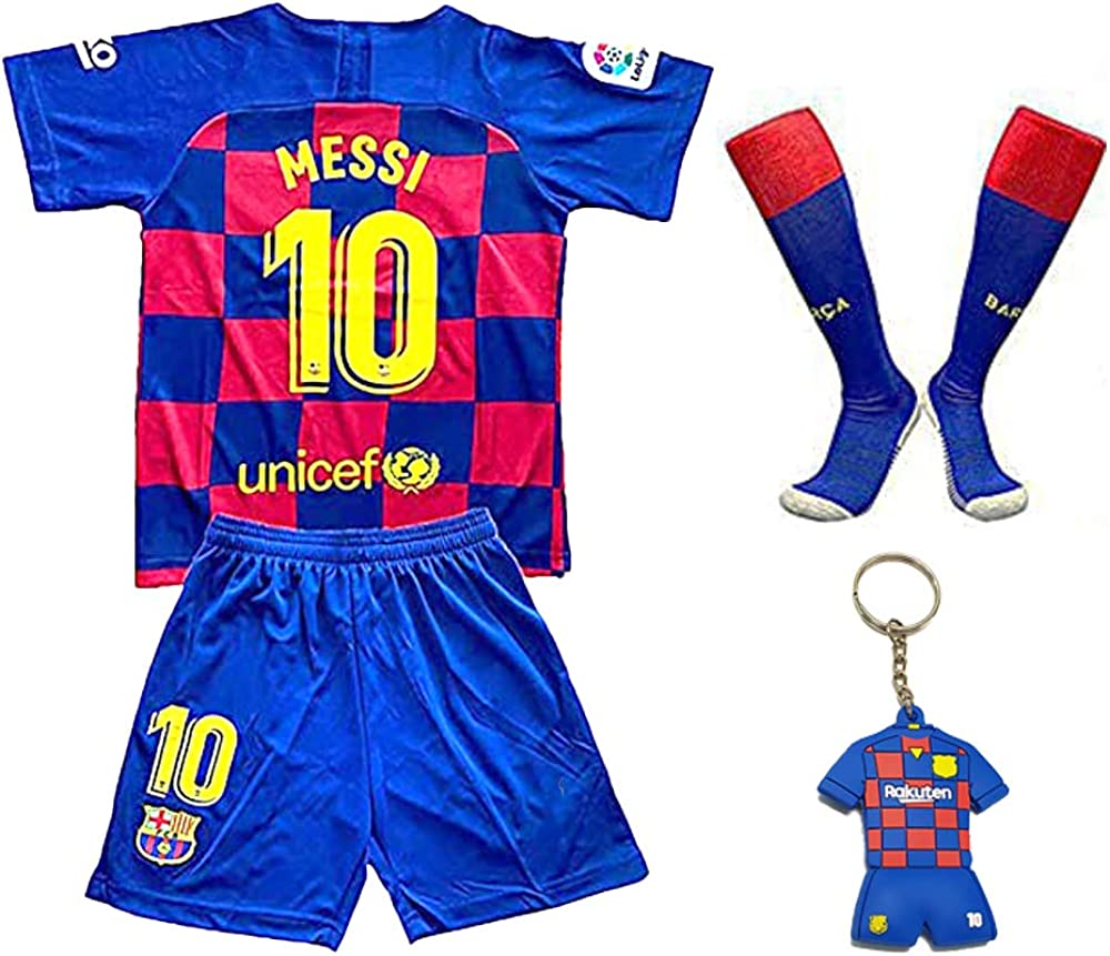 MGGALY Messi #10 Barcelona Home 2019//2020 Season Kids Youth Sport T-Shirts /& Shorts /& Socks