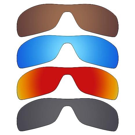 Mryok - Lentes polarizadas de repuesto para gafas de sol Oakley Antix, 4 pares, color negro, rojo fuego, azul hielo, marrón bronce