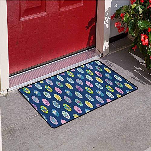 (Jinguizi Surfboard Welcome Door mat Boards with Aloha Hawaii Vibrant Artistic Flowers Graphic Design Hippie Hibiscus Door mat is odorless and Durable W23.6 x L35.4 Inch Multicolor)