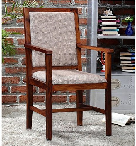 Shilpi Wooden Arm Chair With Cushions Natural Teak Sheesham