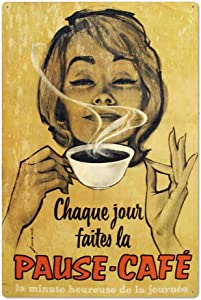 Original Retro Design Tin Metal Wall Art Signs, Pause-Cafe Thick Tinplate Print Poster Wall Decoration For Coffee Corner