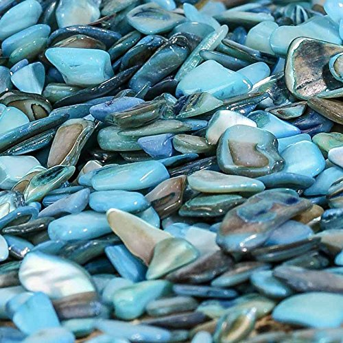 2 Pounds Crushed Shells in an Opalescent Mix Aqua and Turquoise Shades; Perfect for Many Unique ()