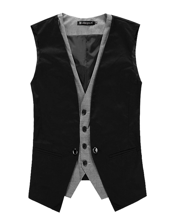 Allegra K Men Deep V Neck Splice Front Design Button Down Vest ...