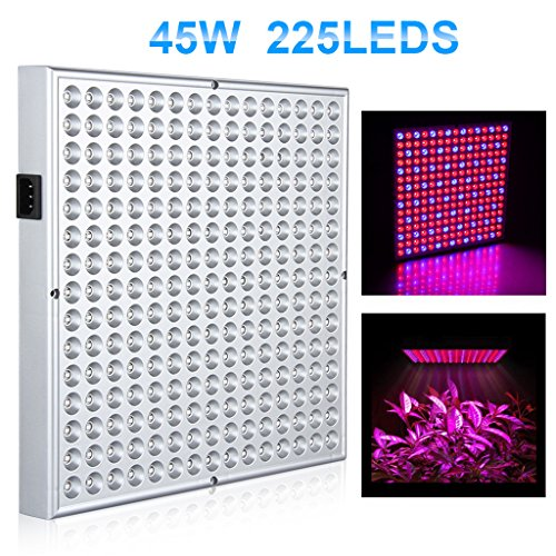 Excelvan PG02 45W 225 SMD LED Hydroponic Plant Grow Light & Lighting Panel,Blue + Red Indoor Garden Plant Grow Light,Hydroponics System and Vegetables(165 red + 60 blue),US.