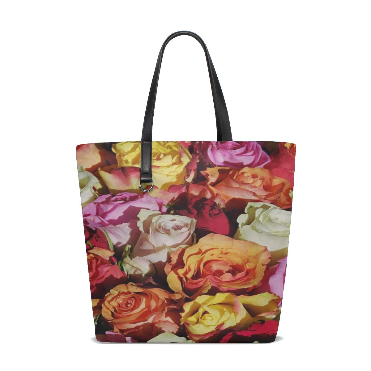 Womens Leather Roses Flowers Floral Handbag Satchel Tote Bag Tote Purse