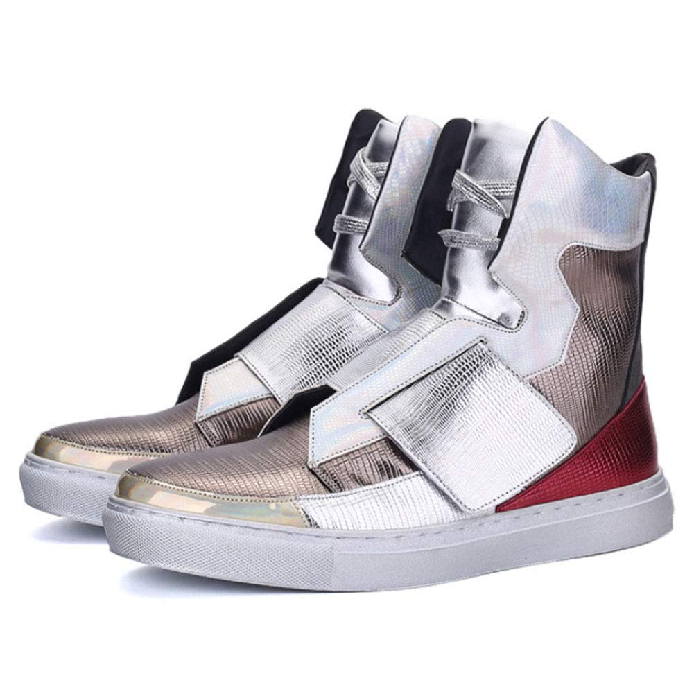 Silver JHHXW Sneakers, high-top, men's casual, personality, youth, street dance, student