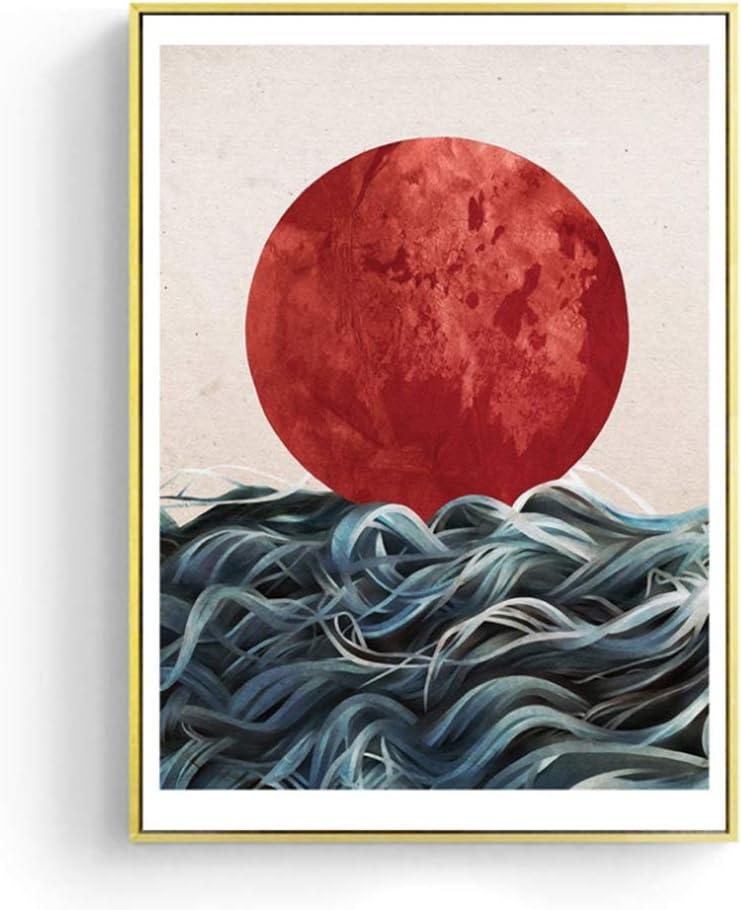 Pintura de lienzo de estilo nórdico Impreso Inicio abstracto japonés amanecer pared arte cuadros carteles sala de estar -60x80cm sin marco