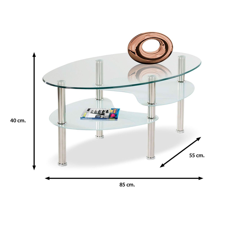 Muebles Baratos Mesa de Centro Ovalada de Cristal Templado ...