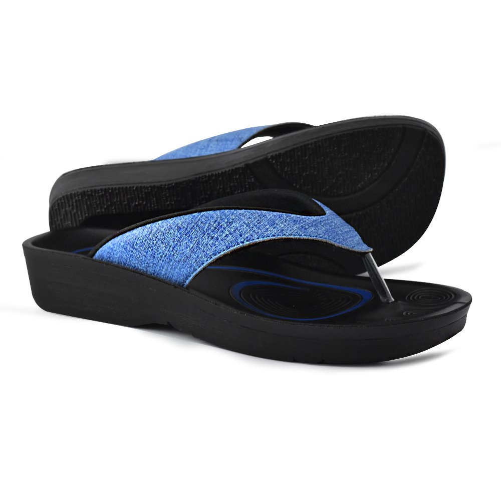 43c1fadba Arch Type  The arch of these thong sandals highly supports medium arches.  Synthetic leather platform with thick scraped outsole.