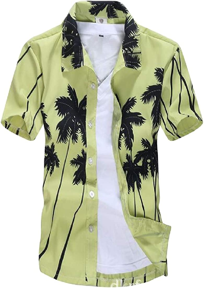 Wofupowga Mens Summer Beach Button Down Print Short Sleeve Shirt