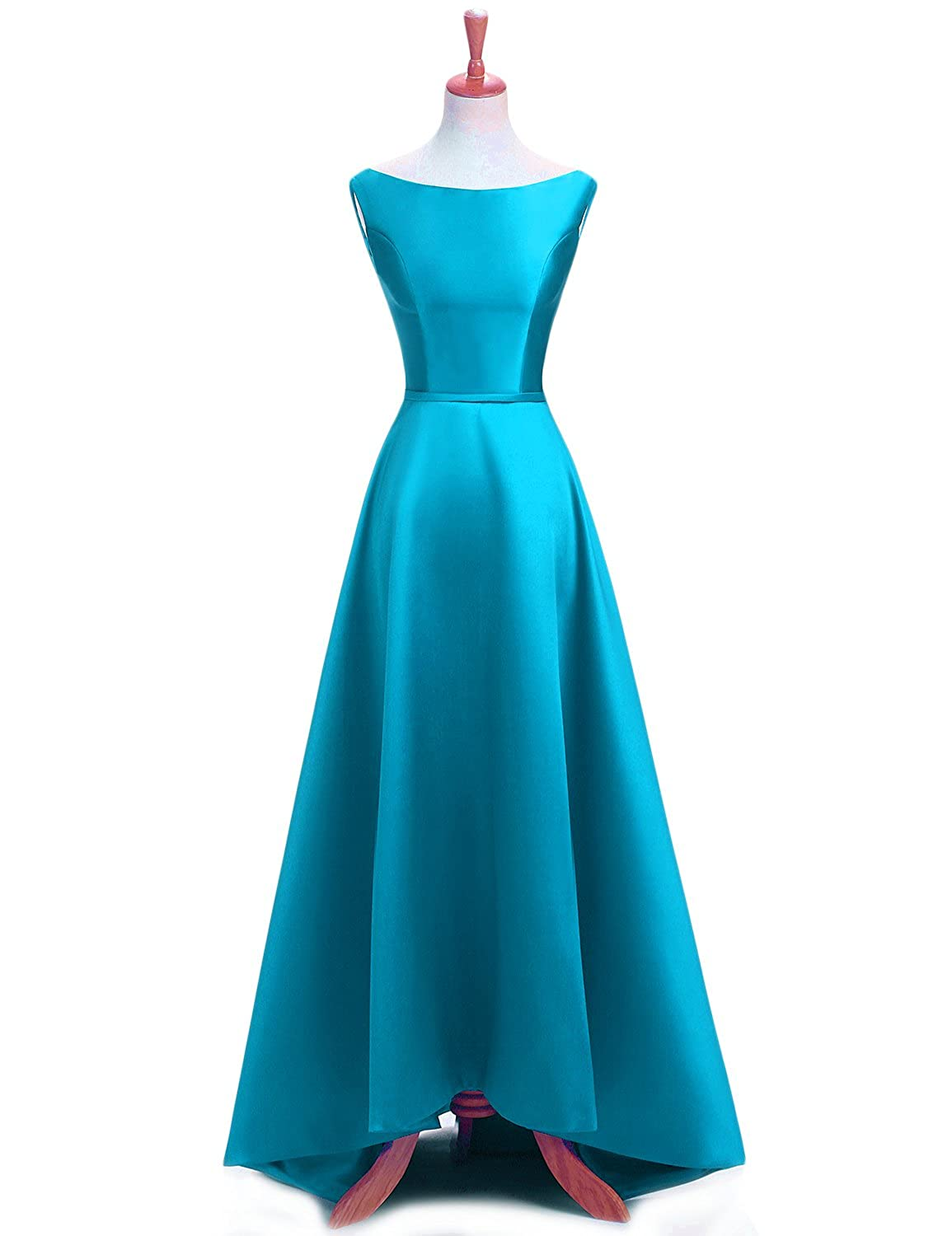 Peacock bluee YSMei Women's Long Aline Prom Dress Sleeveless Satin Ball Gown with Corset Back ON055