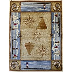 Masada Rugs Nature Area Rug Nautical Scene (3 Feet 10 Inch X 5 Feet 1 Inch)