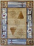 Masada Rugs Nature Area Rug Nautical Scene (5 Feet 2 Inch X 7 Feet 1 Inch) For Sale