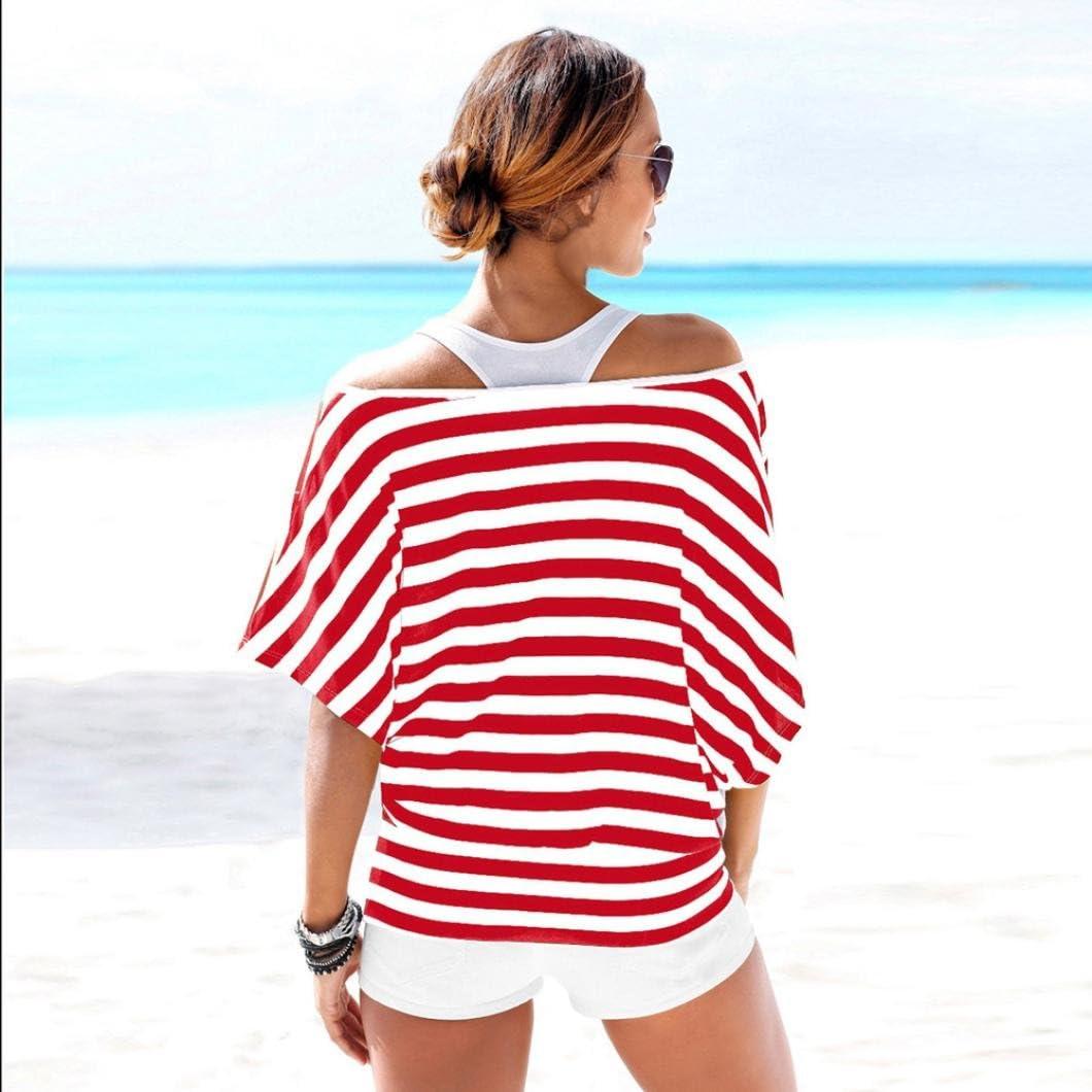 Mikkar Womens T-Shirt Blouse Loose Tops Slash Neck Striped Short Sleeve Sale