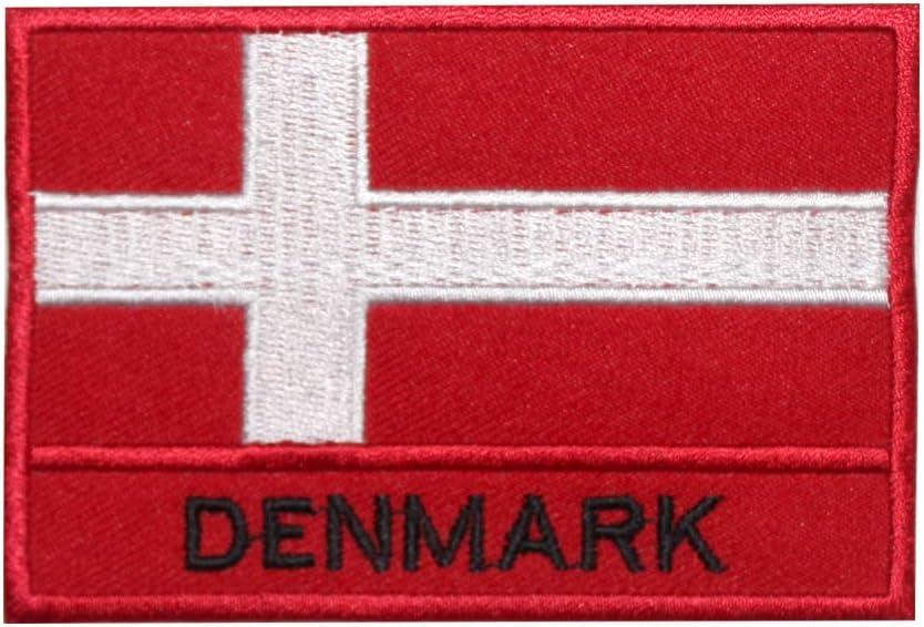 Parche bordado con la bandera de Dinamarca para coser o planchar, para ropa, etc.: Amazon.es: Hogar