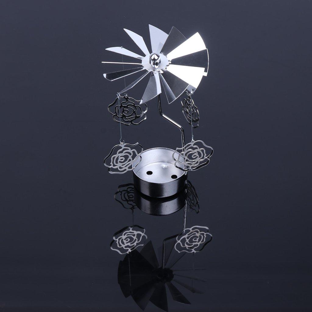 Hierro 3.15x5.12 Chiic Portavelas de Metal con dise/ño de Ciervo y /árbol de Navidad Color Plateado Heart