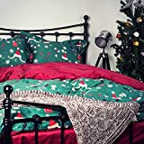 VEAMOR Christmas Gift Snowflake Kids Duvet Cover Sets Queen 3 Pcs With Zipper Closure 100 Egyptian Cotton Green Printed Patterns King Bedding Set Twin Quilt Cover