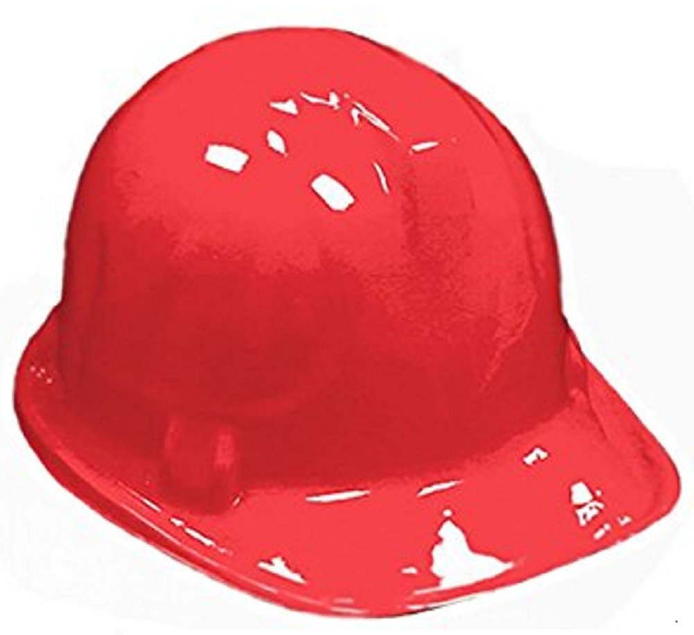 RED Kid's Plastic Miner Construction Hard Hats Set Of 12