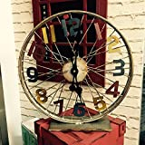 OLQMY-Luxury home decoration Retro wheel clock, metal iron made old bike table clock, watch