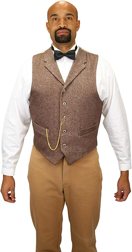 1920s Style Mens Vests Historical Emporium Mens Single Breasted Herringbone Tweed Dress Vest $80.95 AT vintagedancer.com