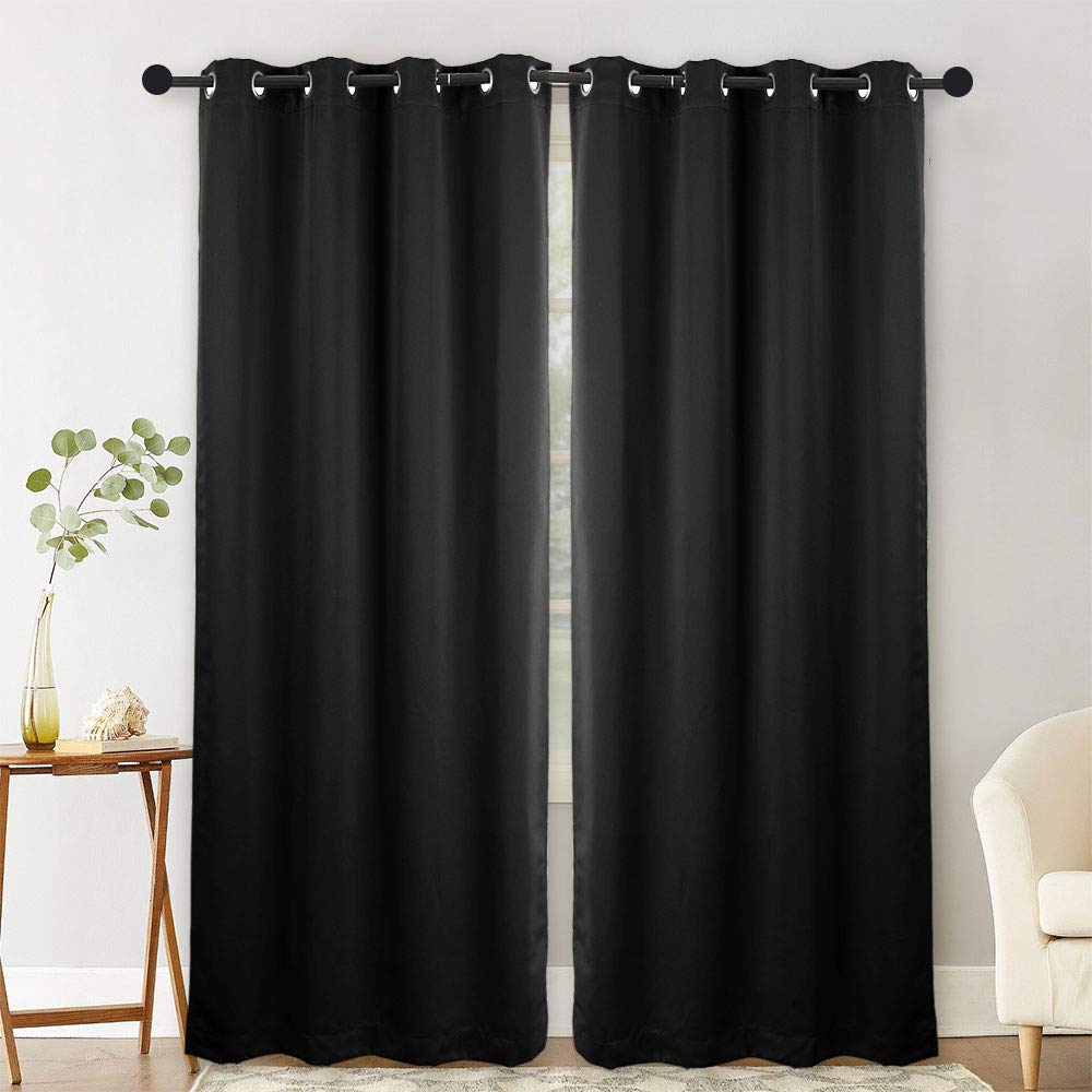 NANAN Blackout Curtains Panels for Bedroom - Window Treatment Thermal Insulated Solid Grommet Blackout Drapes for Living Room - W52 x L84 Inch,2 Panels, Black by NANAN