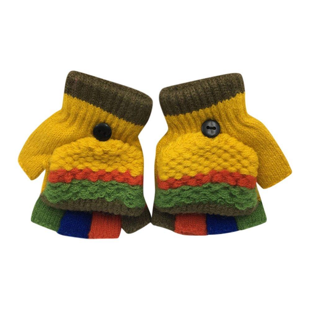 BBsmile Guantes de Invierno calientes con una cuerda suaves manoplas de felpa guantes de punto para unisex bebé niña niño