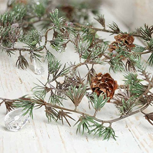 Factory Direct Craft Group of 3 Sparkling Artificial Pine and Teardrop Garlands Each 5 Feet Long for Holiday Decor, Embellishing and Designing (Garland Craft)