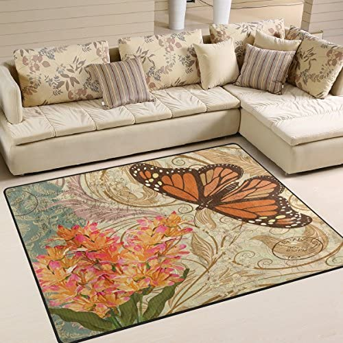 ALAZA Vintage Flower Butterfly Area Rug Rugs for Living Room Bedroom 7 x 5