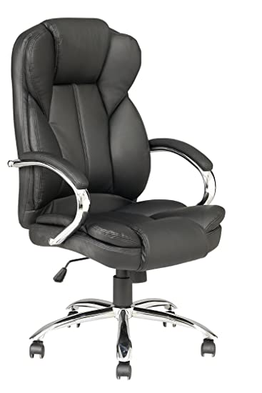 Amazon.com: Black High Back PU Leather Executive Office Desk Task Computer  Chair W/Metal Base O18: Kitchen U0026 Dining