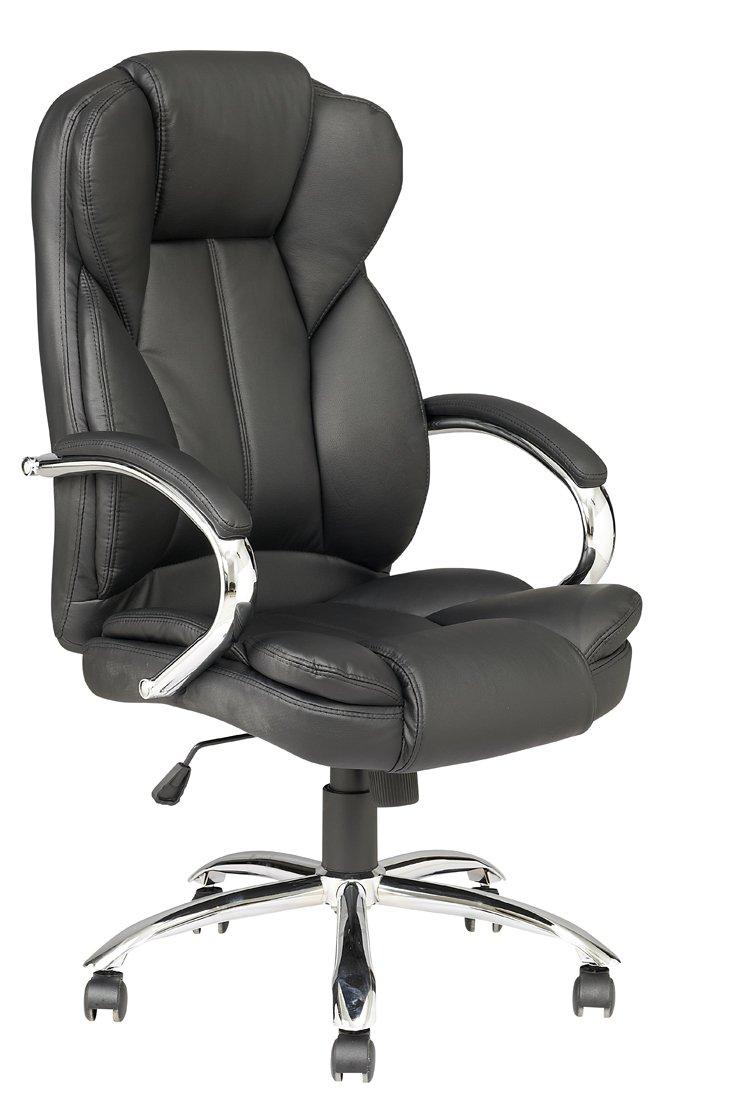 Black High Back PU Leather Executive Office Desk Task Computer Chair w/Metal Base O18