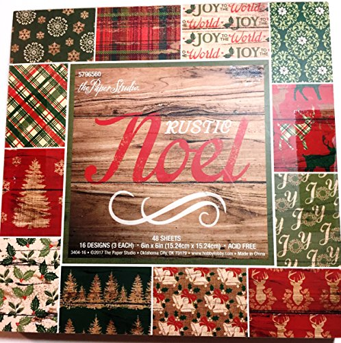 Rustic Noel 6x6 Christmas Scrapbooking Paper Pad, 48 sheets, Wood, Deer, Holly, Trees