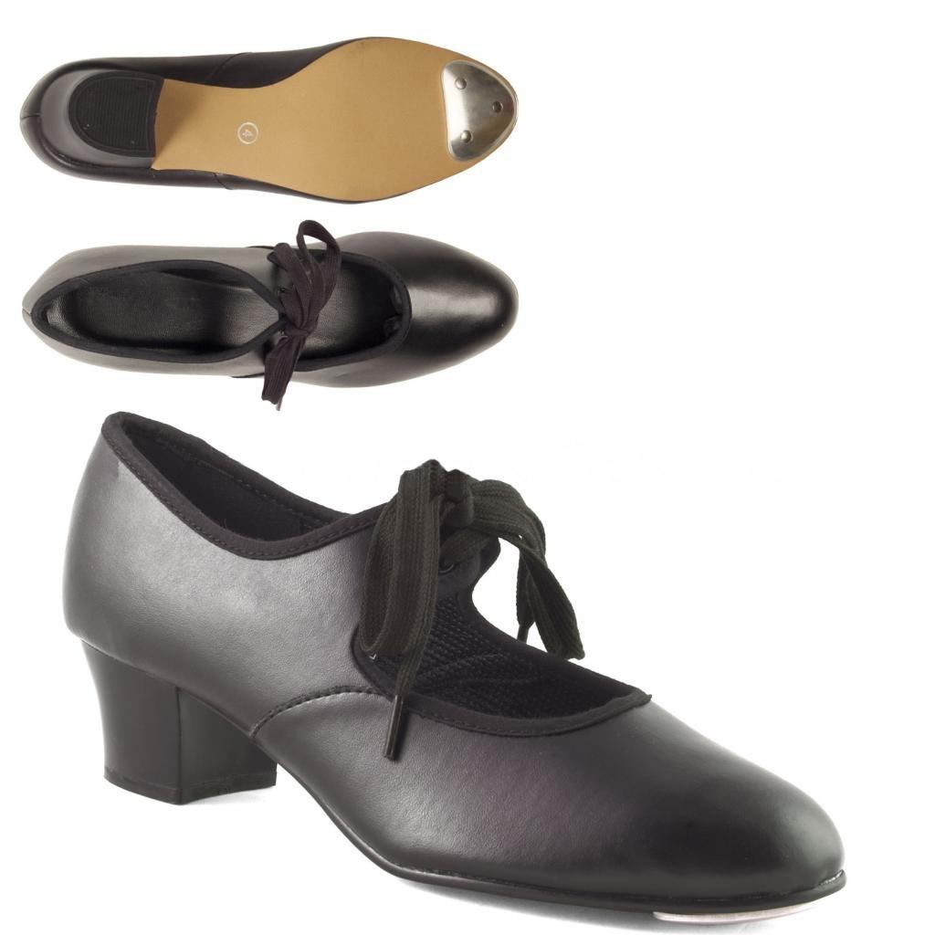 Dance Gear CHP Cuban Heel PVC Tap Shoes with Toe Tap