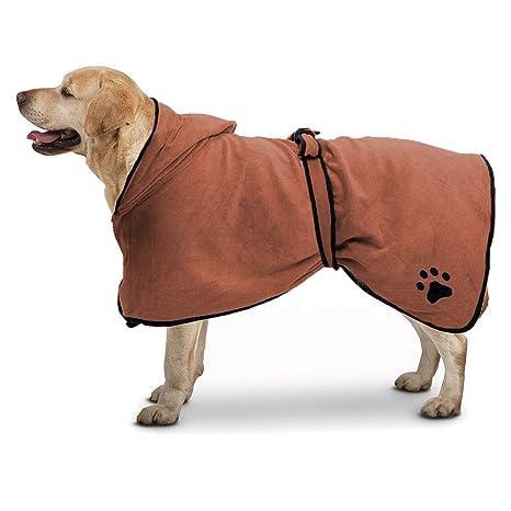 TFENG Albornoz Microfibra para Perro con Capucha de Secado rápido Albornoz para Mascotas Absorbente para Mascotas