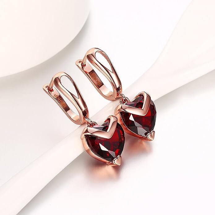 Yozone Heart Shaped Inlaid Red Diamond Earrings Rose Gold Ear Buckle (Red) Ezm72Kjme