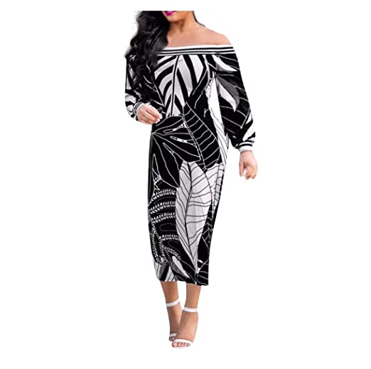 27836c872c2dce Hessimy Womens Dresses Sexy Vintage African Dress Formal Prom Dashiki Print Off  Shoulder Dress Party Dresses