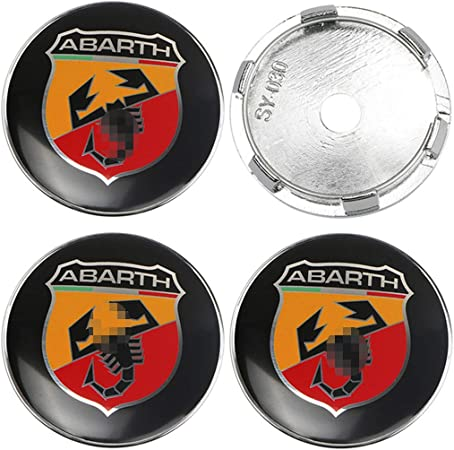 con Stemma Centrale Abarth 60 mm Set di coprimozzi per Cerchi in Lega